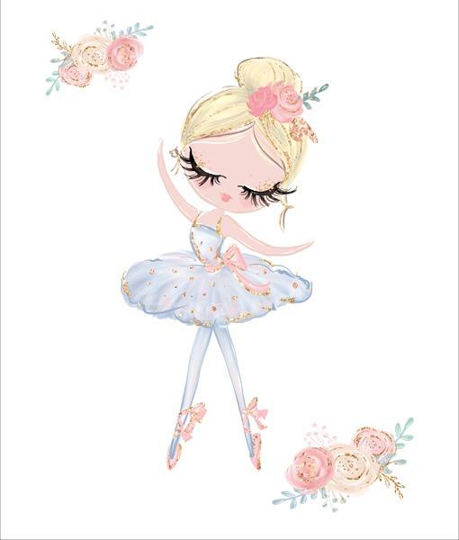 baumwollstoff-premium-panel-xl-ballerina-und-kleine-blume---weiß